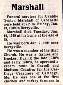 Uvaldie Denton Marshall obit part one