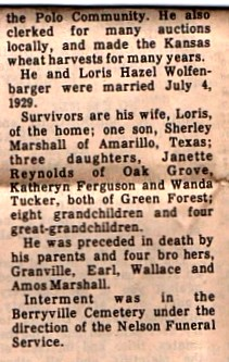 Uvaldie Denton Marshall obit part two