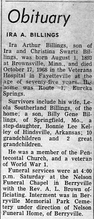 Ira Billings obituary