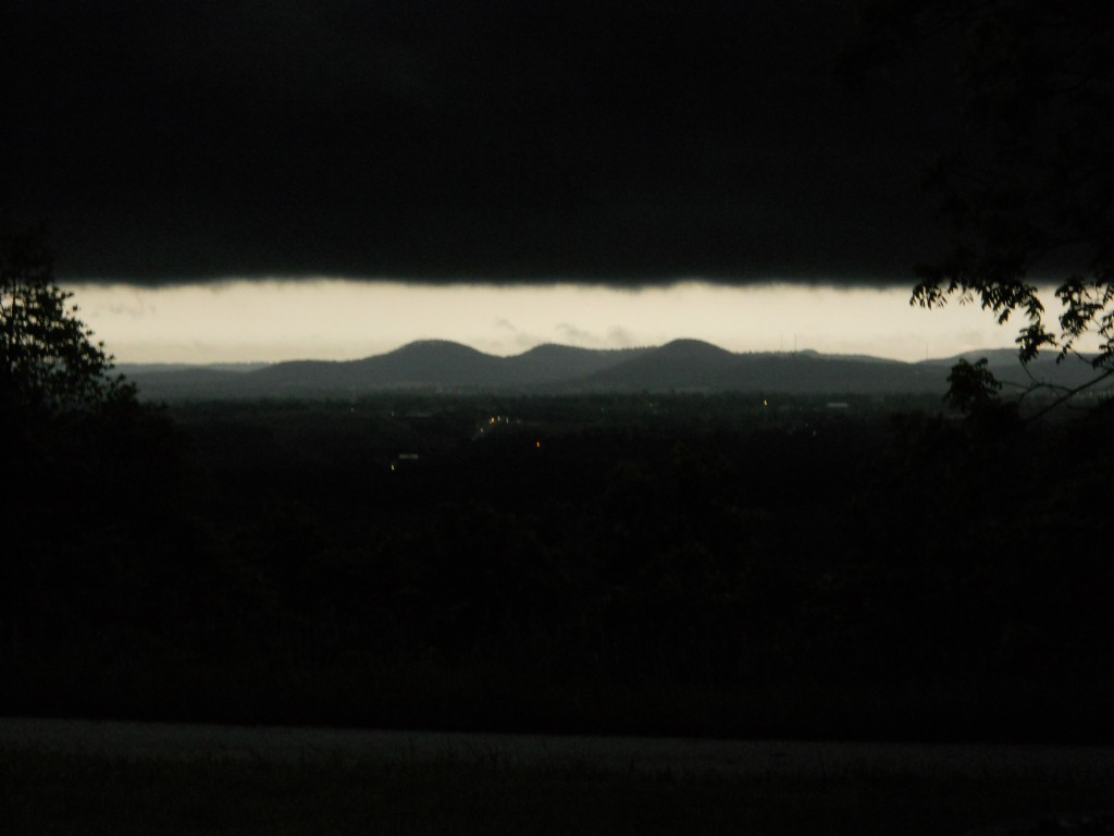 dark clouds to the east